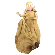 Victorian Miniature 3 Inch Bisque Doll Jointed Arms