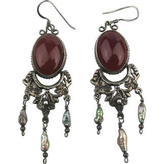 Exotic Sterling Silver Carnelian Dangle Pearl Earrings