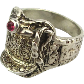 Sterling Silver Western SADDLE Ring w/ Ruby Horn