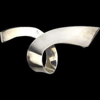 Big Taxco Sterling Silver Crossover Pin Brooch