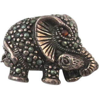 Tiny Sterling Silver Marcasite Elephant Pin Brooch - Is That a Yoga Mat?