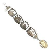 Vintage Don Quixote Spain German Silver Figural Link Bracelet
