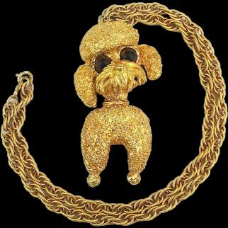 Gilded POODLE Dog Pendant Necklace Big Textured Tancer