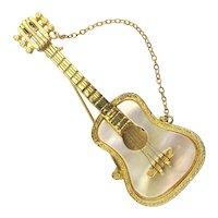 Vintage MANDLE Guitar Pin Brooch Great Detail w/ MOP