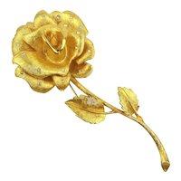 Big Gilded ROSE Pin Brooch w/ Teeny Crystals 4-Inch Beauty