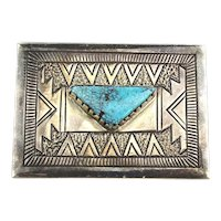 Navajo Sterling Silver Turquoise Buckle by Patrick Taylor Stamped / Repousse
