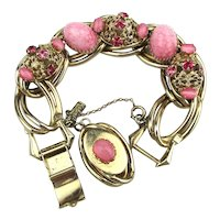 KAFIN Big Bold Fabulous Pink Glass Crystal Rhinestone Bracelet