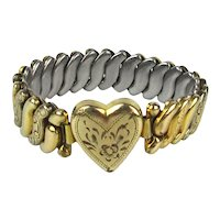 Girls 1940s Gold Filled Etched Stretch ~ HEART ~ Sweetheart Bracelet