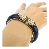 Art Deco Enamel Bracelet Hinged - Gilt