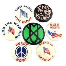 1960s Anti Vietnam War Protest Cause Pins Peace Patriotic All Original