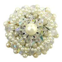 Vendome Floral Crystal Faux Pearl Cluster Pin Brooch Book Piece