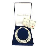 SOLD TO T.W. - JBK Jacqueline Kennedy Camrose Kross 3 Strand Faux Pearl Necklace Orig. Box