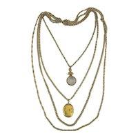 Vintage GOLDETTE Multi Chain Necklace w/ Photo Locket - Intaglio Fob Charm