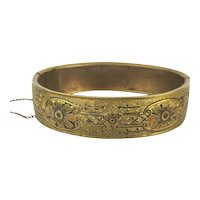 Nice c1920 Gilded Brass Etched Hinged Bracelet