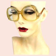 1970s Mod REVUE France Eyeglasses Rhinestone Bold Frames
