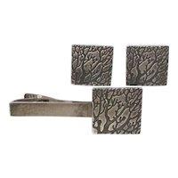Modernist Sterling Silver Japanese Abstract CUFFLINKS Set