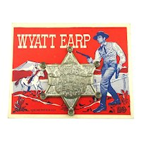1950s WYATT EARP Marshall Badge on Original Card