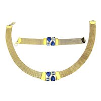 Vintage Gilded Mesh Necklace Bracelet Set w/ Blue Crystal Rhinestones