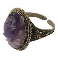 Antique c1920 Chinese Silver Carved Amethyst Ring