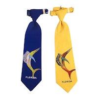 Boys 1940s FLORIDA Souvenir Tie w/ Jumping Marlin Fish - A Pair