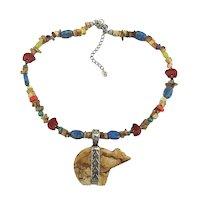 Carolyn Pollack Relios 925 Fetish Bear Necklace Colorful Southwest Stones