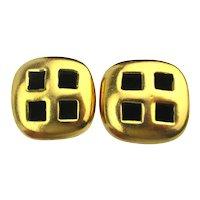 1994 Steve Vaubel 18K Gold Clad Clip Earrings - Box Cuts