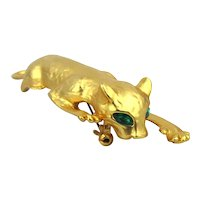 Big Slinking Panther Cat Pin Brooch Gilded Green-Eyed