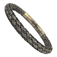 Fine Woven Cable Sterling Silver Bangle Bracelet