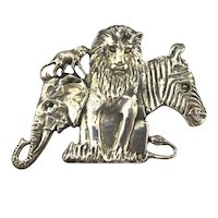 Small Sterling Silver Pin Brooch - Detailed Jungle Scene