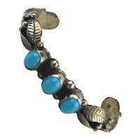 Vintage Mexican Cuff Bracelet Sterling Silver Turquoise Eagle 50