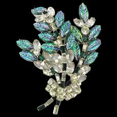 Vintage Clear n Carnival Glass Rhinestone Pin - Big n Awesome