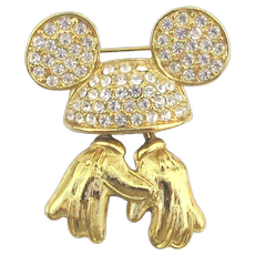 Vintage Disney Rhinestone Pin Brooch Invisible Mickey Mouse