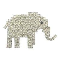 Dorothy Bauer Swarovski Rhinestone ELEPHANT Pin Brooch