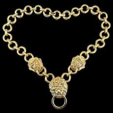 Kenneth Jay Lane KJL Lion Doorknocker Chain Link Necklace