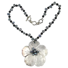 Big Mother-of-Pearl Flower Necklace w/ Real Pearls - Sterling Silver