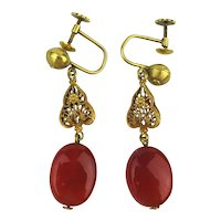 Estate 14K Yellow Gold Filigree Carnelian Earrings Screw Back