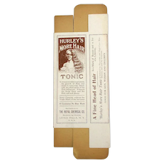 Old c1905 HURLEY'S MORE HAIR Tonic Cardboard Box Unused Bald Woman