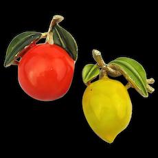 Pair of Fruit Pins Enamel Orange / Lemon Pin Brooch