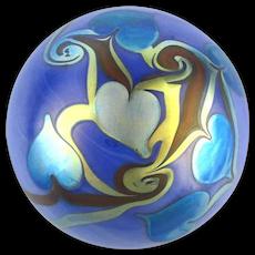 Orient & Flume 1974 Art Glass Paperweight Iridescent Hearts