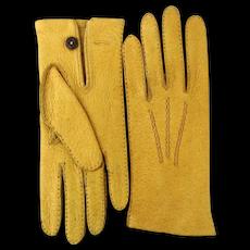 Vintage English Peccary Skin Gloves - Unworn