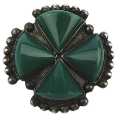 Old Mexican Sterling Silver Onyx Pin Brooch