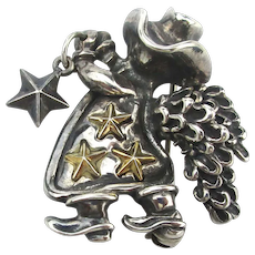 Vintage Esquivel - Fees Sterling Silver Cowgirl Angel Pin Brooch