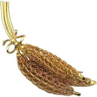 Vintage COROCRAFT Gilded Wire Banana Pods Pin Brooch