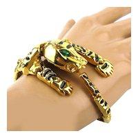Articulated Goldtone Enamel Tiger Bracelet - Wraparound Links