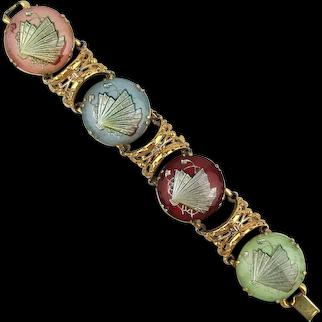1940s Fancy Fans Under Glass Domes Link Bracelet