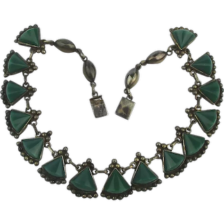 Signed Mexican Sterling Silver Green Onyx Necklace
