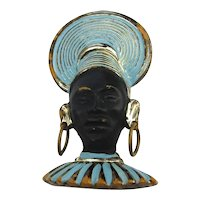Art Deco Era African Princess Enamel Pin Brooch