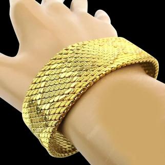 Vintage DECESARE Woven Mesh Faux Gold Wide Bracelet