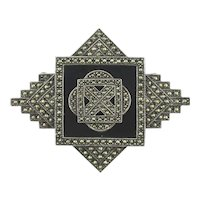 Judith Jack Art Deco Style Sterling Silver Marcasite Pin Signed Numbered