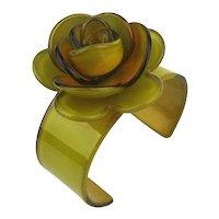 Vintage Resin Celluloid Cuff Bracelet w/ Rose Top
